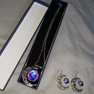 Galaxy and Moon Jewelry Set